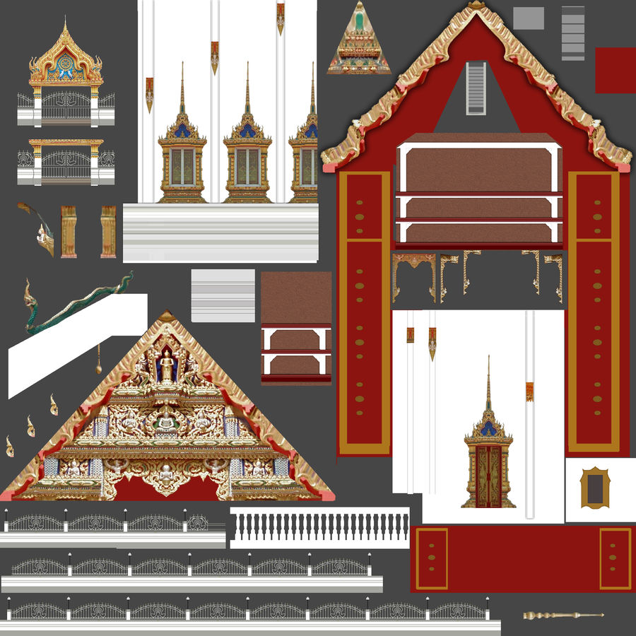 Iglesia China - Low Poly royalty-free modelo 3d - Preview no. 10