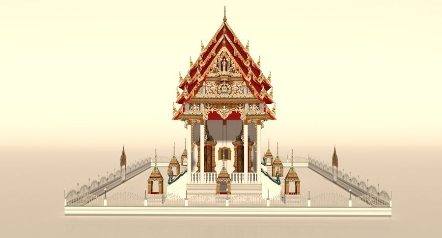 Iglesia China - Low Poly royalty-free modelo 3d - Preview no. 5