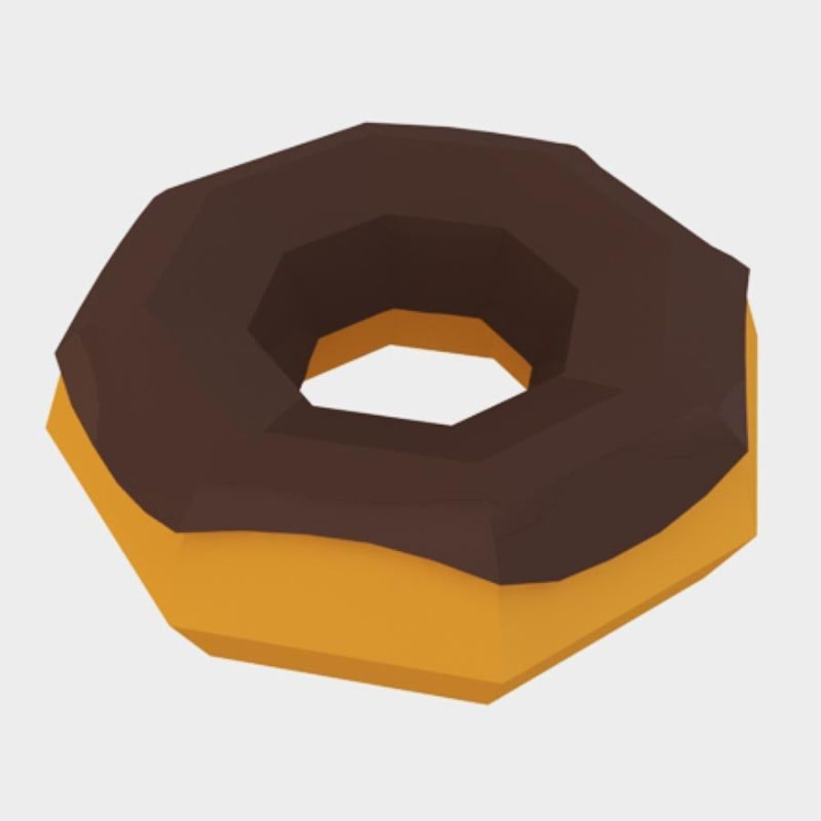 låg poly donut (spel redo) royalty-free 3d model - Preview no. 1