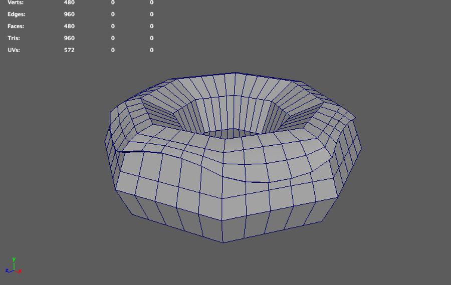 låg poly donut (spel redo) royalty-free 3d model - Preview no. 5
