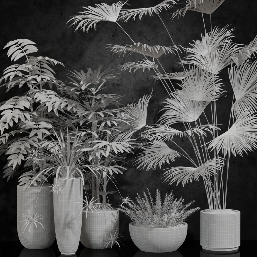room plants royalty-free 3d model - Preview no. 4