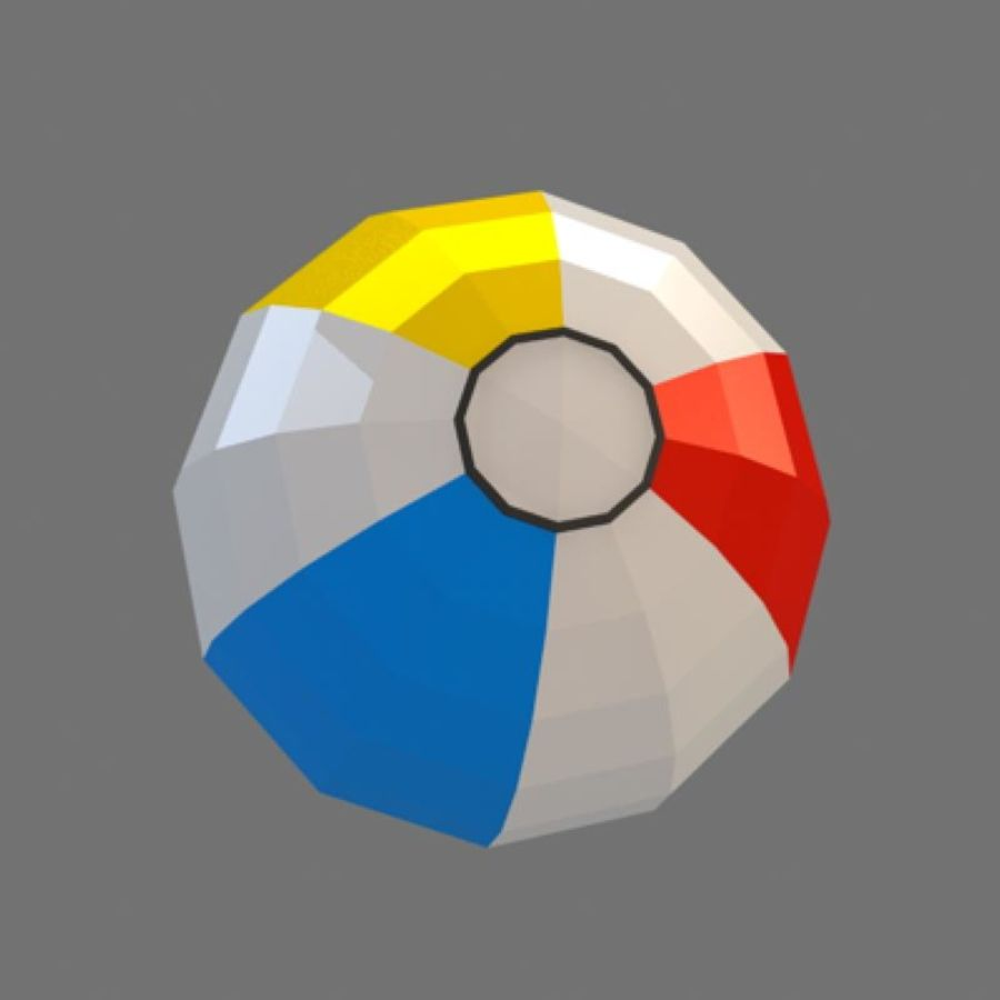 low poly beach ball (game ready) royalty-free 3d model - Preview no. 2