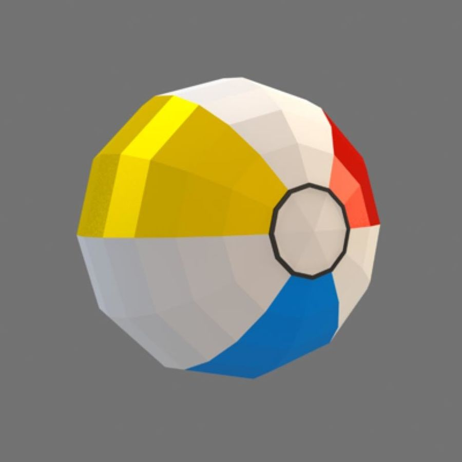 low poly beach ball (game ready) royalty-free 3d model - Preview no. 3
