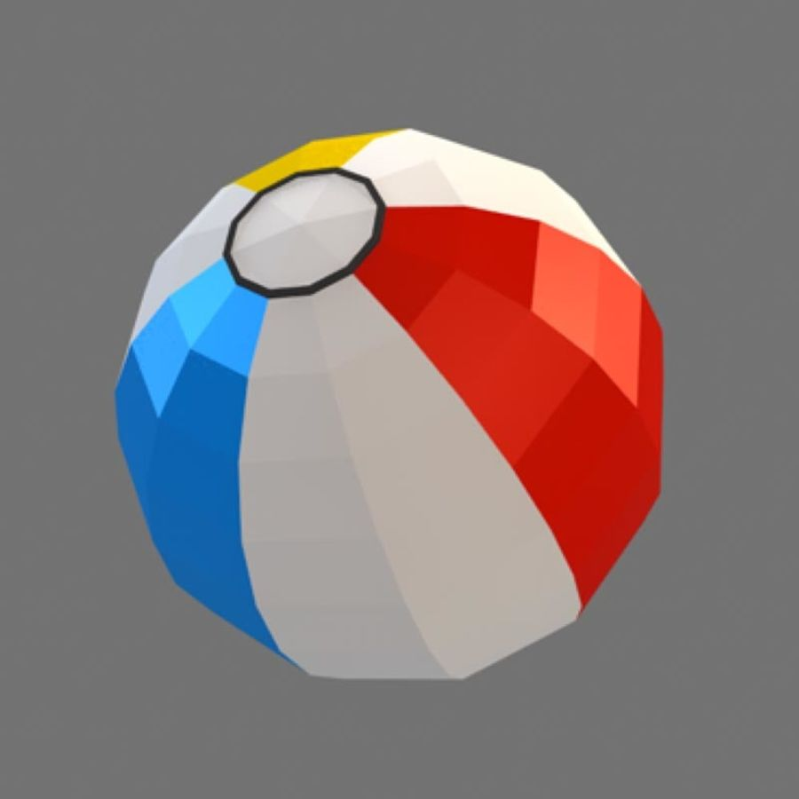 low poly beach ball (game ready) royalty-free 3d model - Preview no. 1