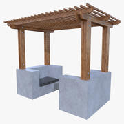 Low poly pergola four 3d model