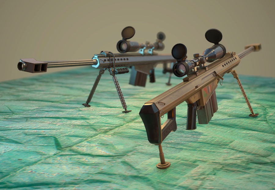 M82 Barret sniper rifle royalty-free 3d model - Preview no. 3