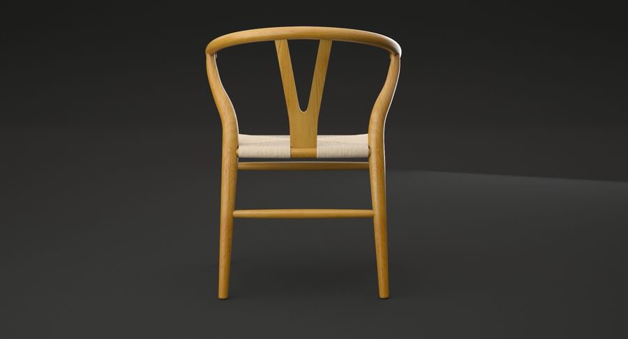 Wishbone chair royalty-free 3d model - Preview no. 7