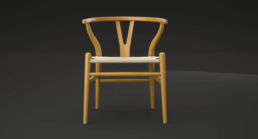 Wishbone chair royalty-free 3d model - Preview no. 6
