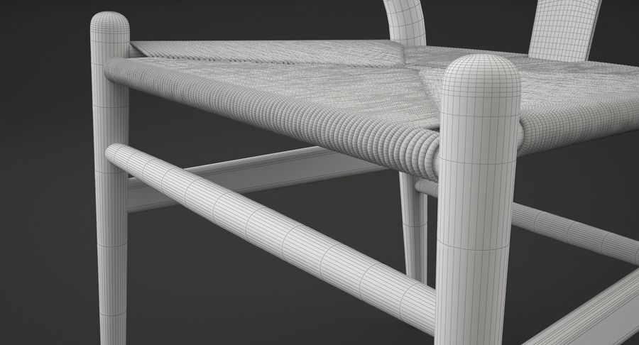 Wishbone chair royalty-free 3d model - Preview no. 11