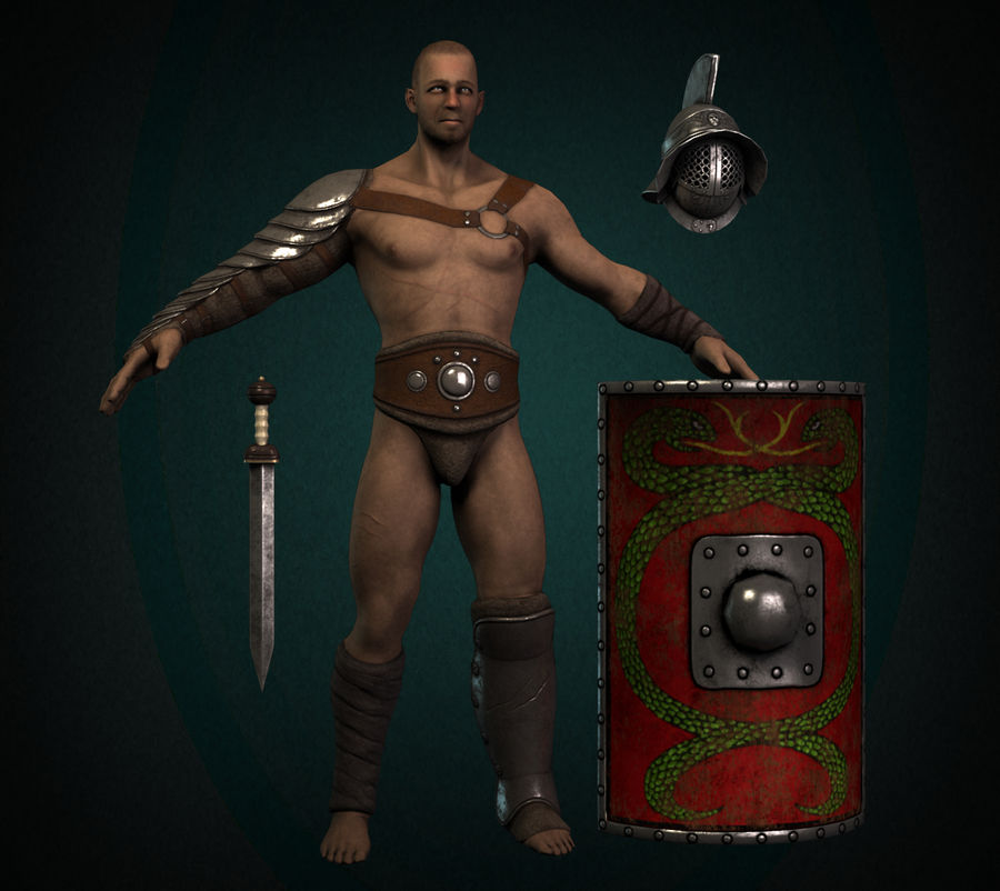Gladiator Warrior royalty-free 3d model - Preview no. 1