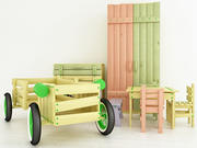Wooden childrens furniture 3d model
