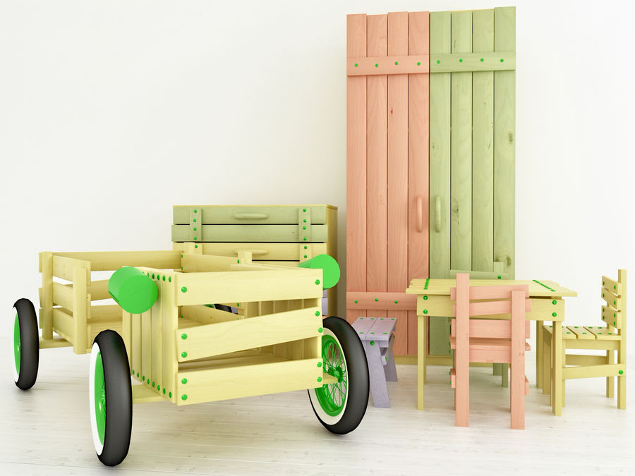 Wooden childrens furniture royalty-free 3d model - Preview no. 1