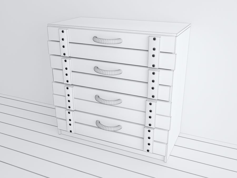 Wooden childrens furniture royalty-free 3d model - Preview no. 5