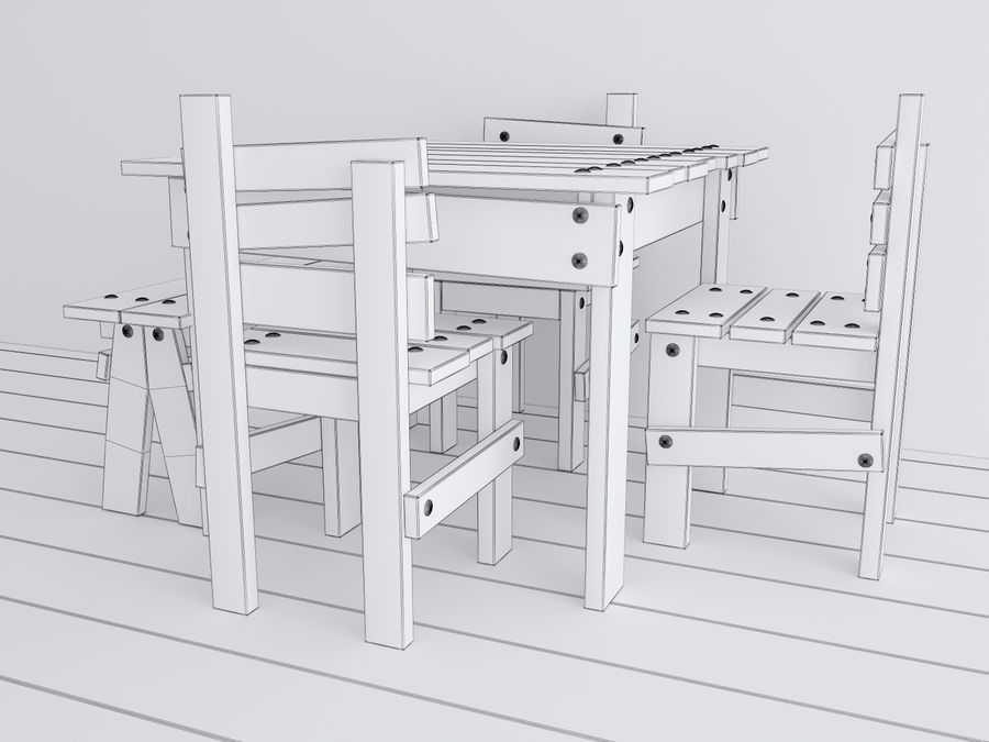 Wooden childrens furniture royalty-free 3d model - Preview no. 9