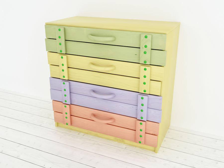 Wooden childrens furniture royalty-free 3d model - Preview no. 4