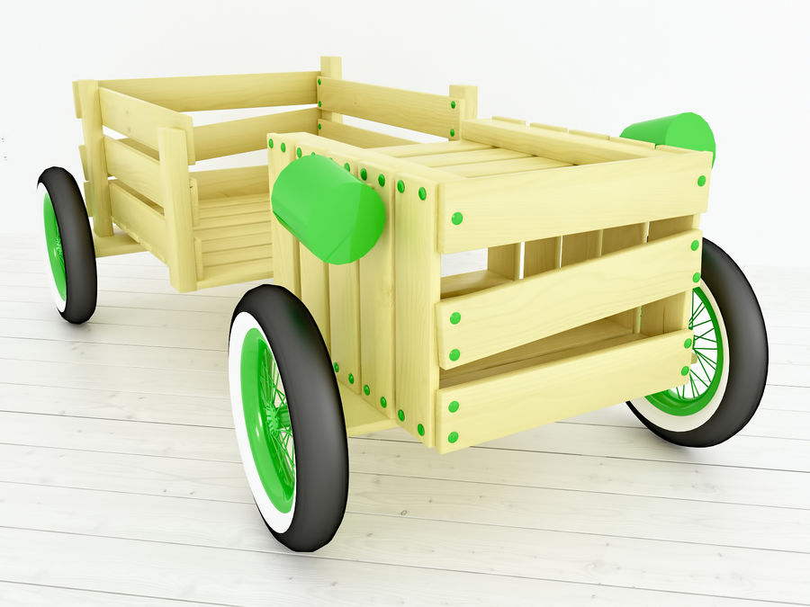 Wooden childrens furniture royalty-free 3d model - Preview no. 2