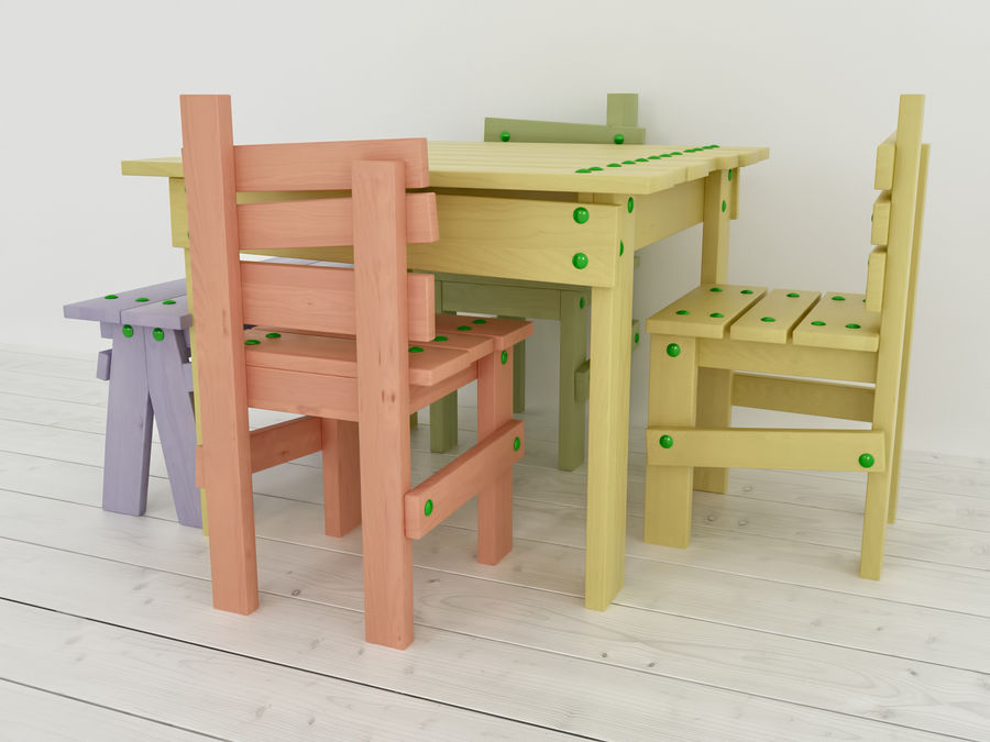 Wooden childrens furniture royalty-free 3d model - Preview no. 8