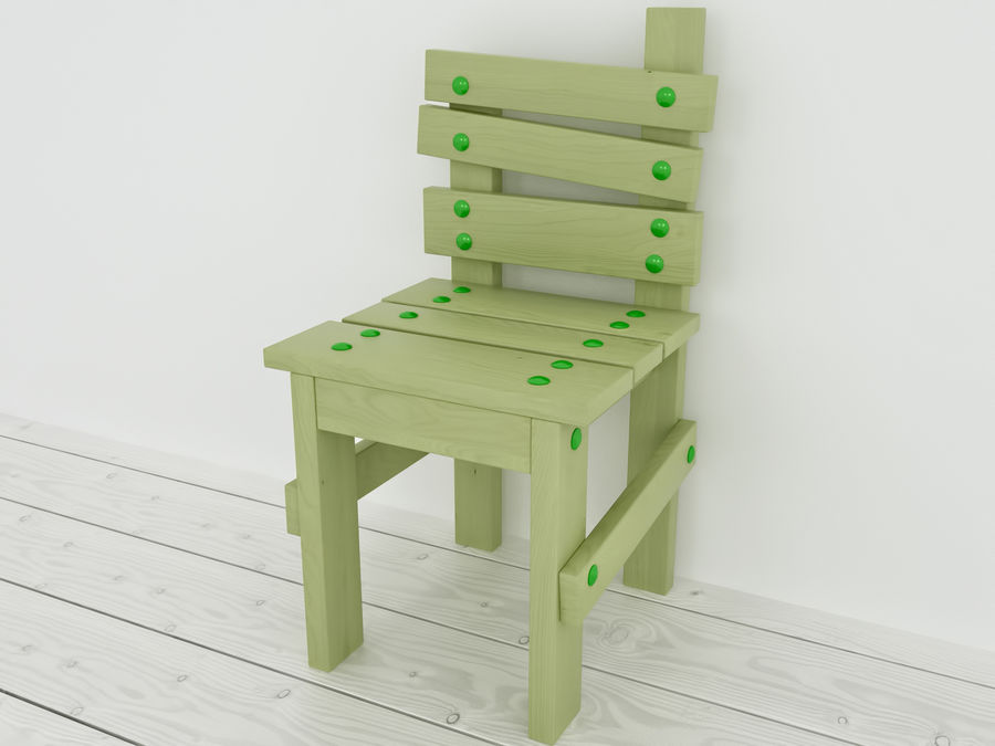 Wooden childrens furniture royalty-free 3d model - Preview no. 12