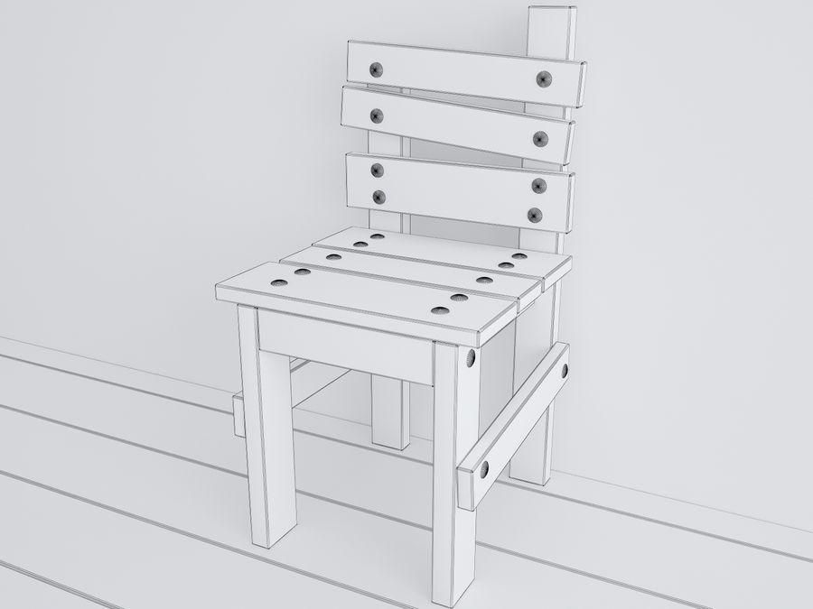 Wooden childrens furniture royalty-free 3d model - Preview no. 13
