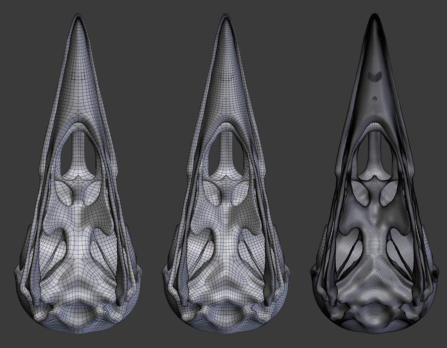 Raven skalle royalty-free 3d model - Preview no. 10