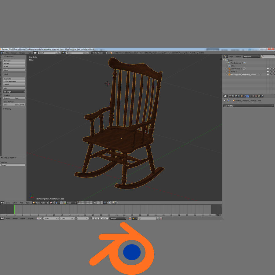 Rocking Chair Red Cherry royalty-free 3d model - Preview no. 6