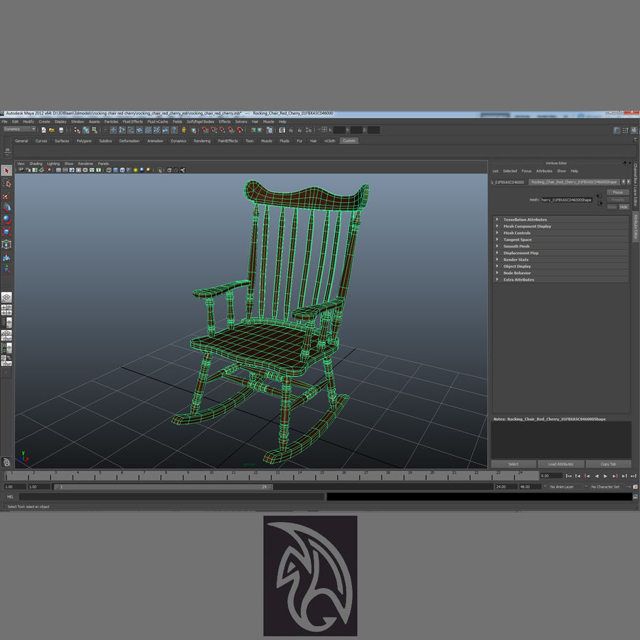 Rocking Chair Red Cherry royalty-free 3d model - Preview no. 8