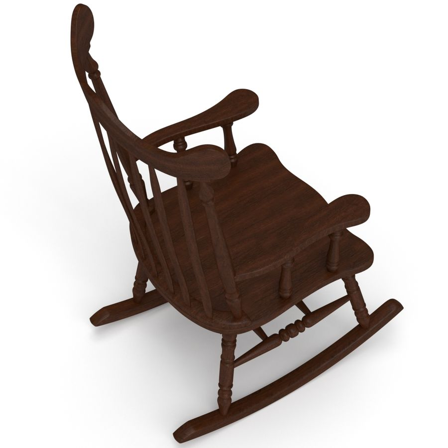 Rocking Chair Red Cherry royalty-free 3d model - Preview no. 3