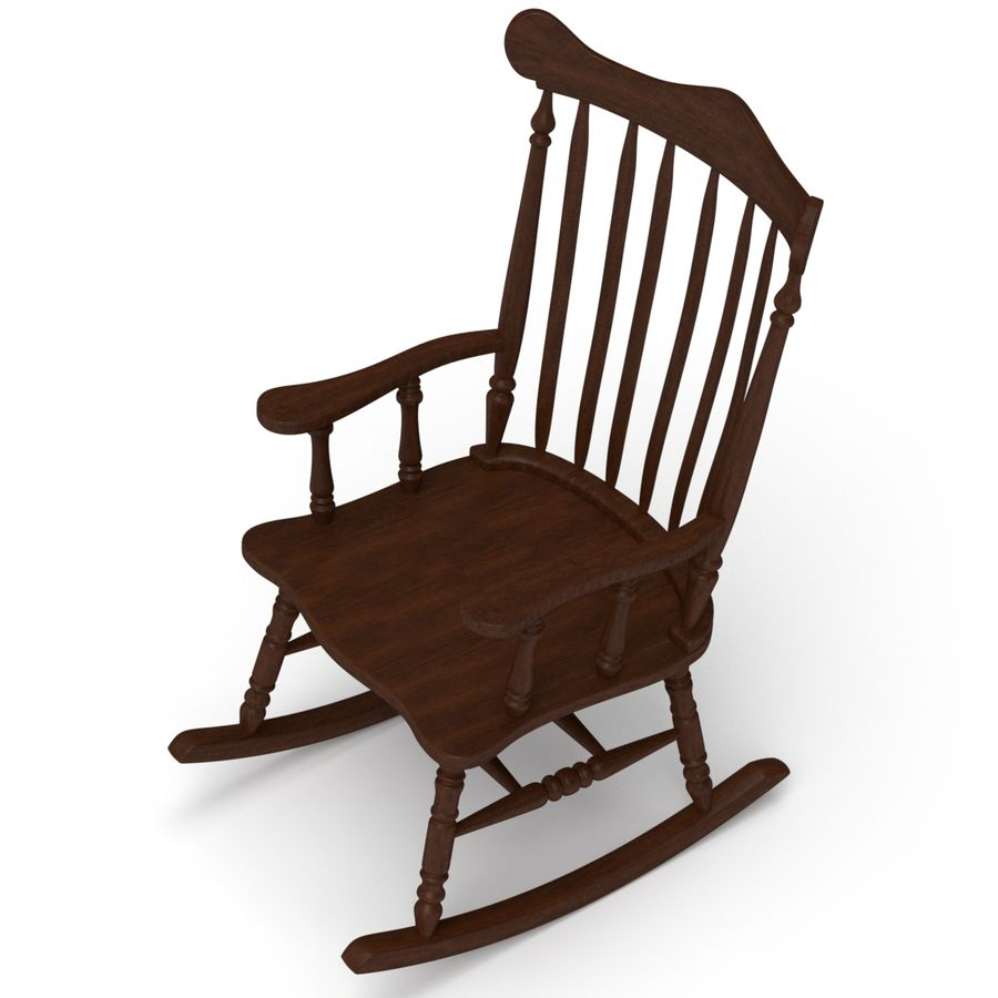 Rocking Chair Red Cherry royalty-free 3d model - Preview no. 2