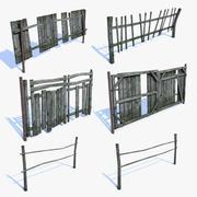 Set di recinzioni del vecchio villaggio 3d model