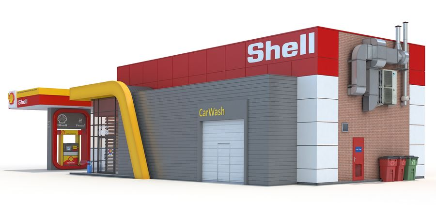 Shell gas station royalty-free 3d model - Preview no. 3