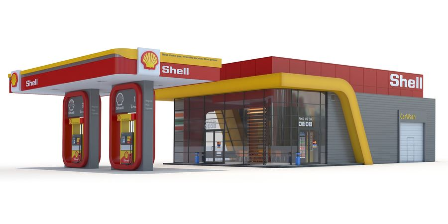 Shell gas station royalty-free 3d model - Preview no. 1