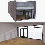 Strip mall store unit four with interior full 3d model