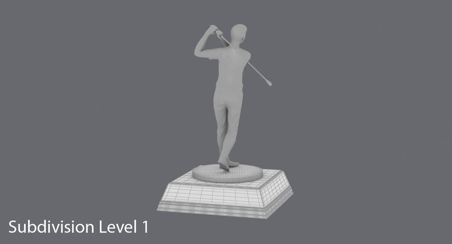 高尔夫奖杯 royalty-free 3d model - Preview no. 17