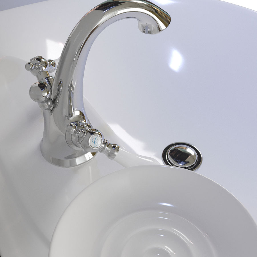 Évier avec robinet royalty-free 3d model - Preview no. 7