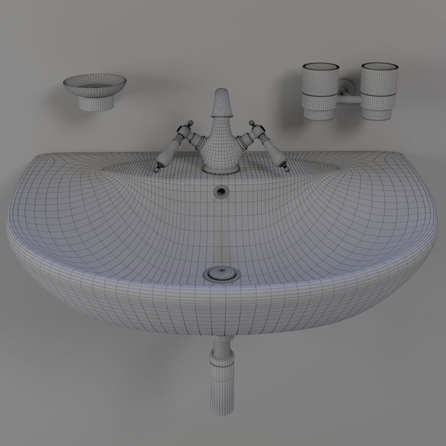 Évier avec robinet royalty-free 3d model - Preview no. 11