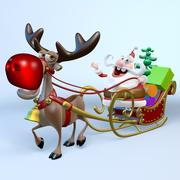 Santa, Sleigh and Reindeer Rudolph 3d model
