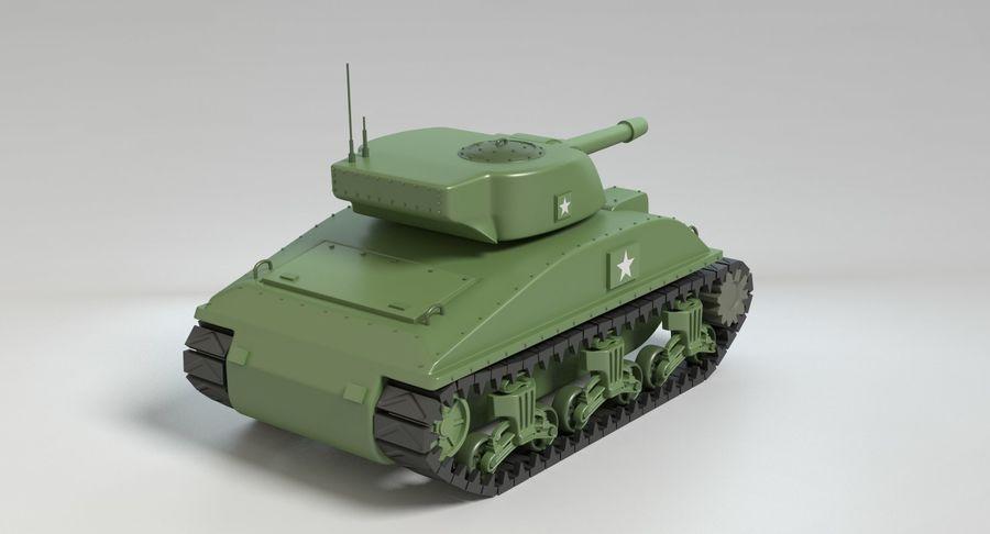 Cartoon Sherman Tank royalty-free 3d model - Preview no. 5