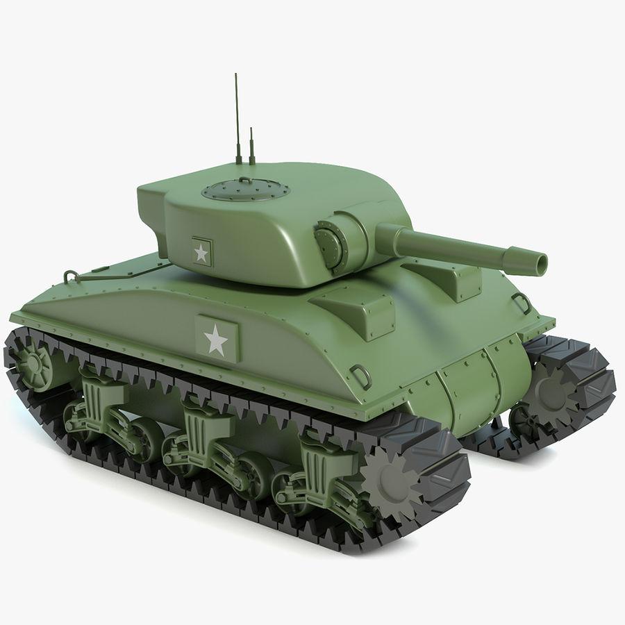 Cartoon Sherman Tank royalty-free 3d model - Preview no. 1
