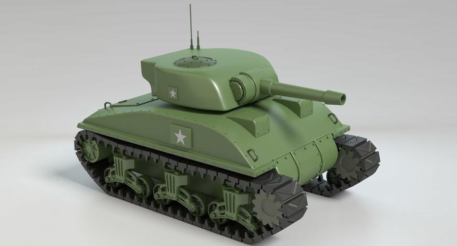 Cartoon Sherman Tank royalty-free 3d model - Preview no. 3
