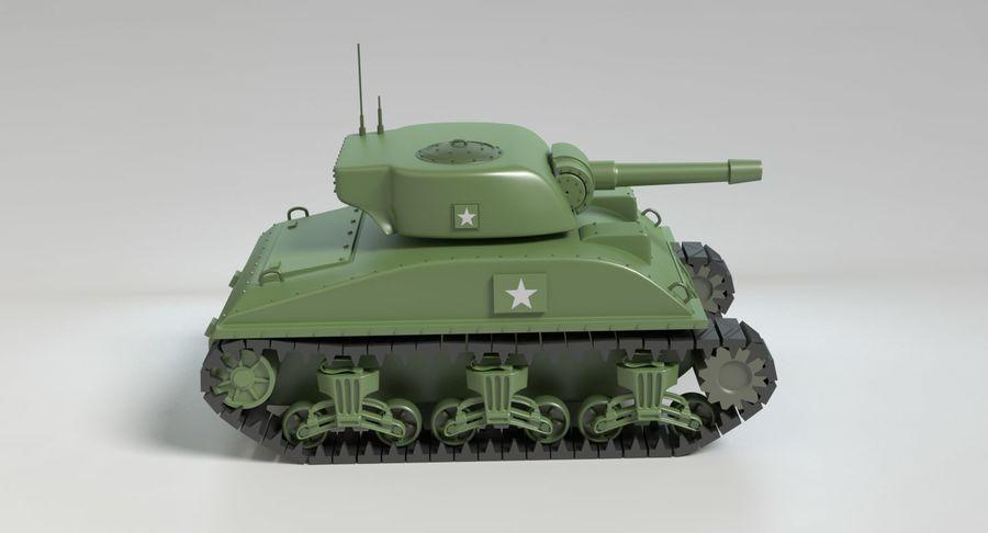 Cartoon Sherman Tank royalty-free 3d model - Preview no. 4