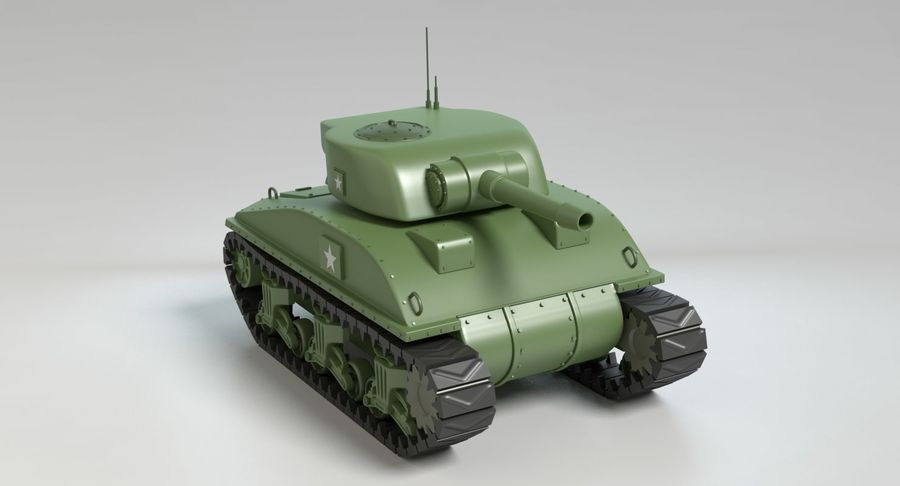 Cartoon Sherman Tank royalty-free 3d model - Preview no. 10