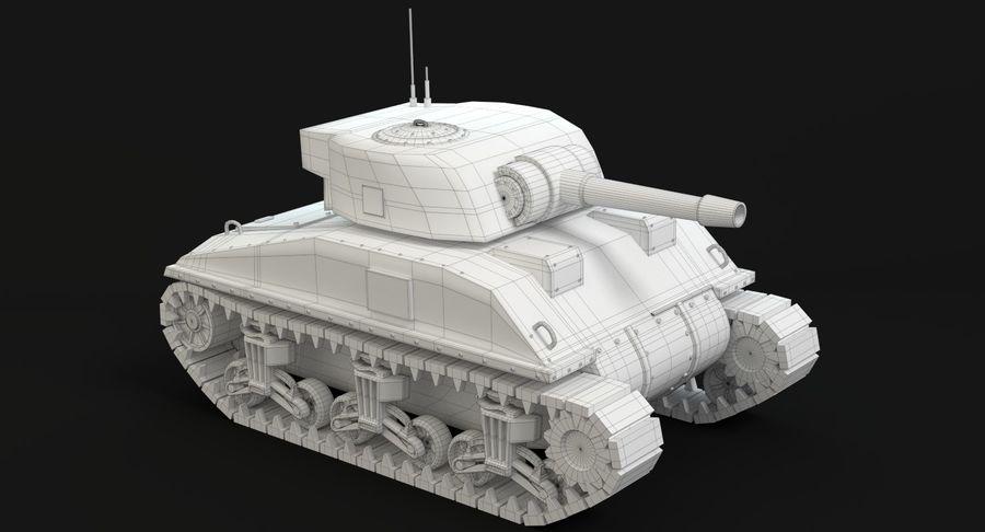 Cartoon Sherman Tank royalty-free 3d model - Preview no. 13