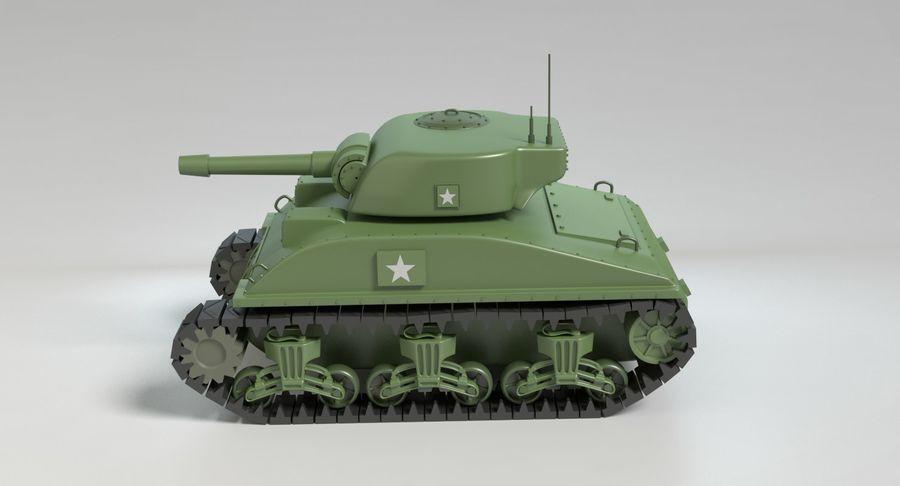 Cartoon Sherman Tank royalty-free 3d model - Preview no. 7