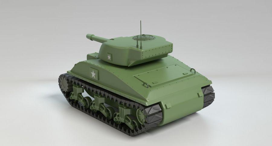 Cartoon Sherman Tank royalty-free 3d model - Preview no. 6