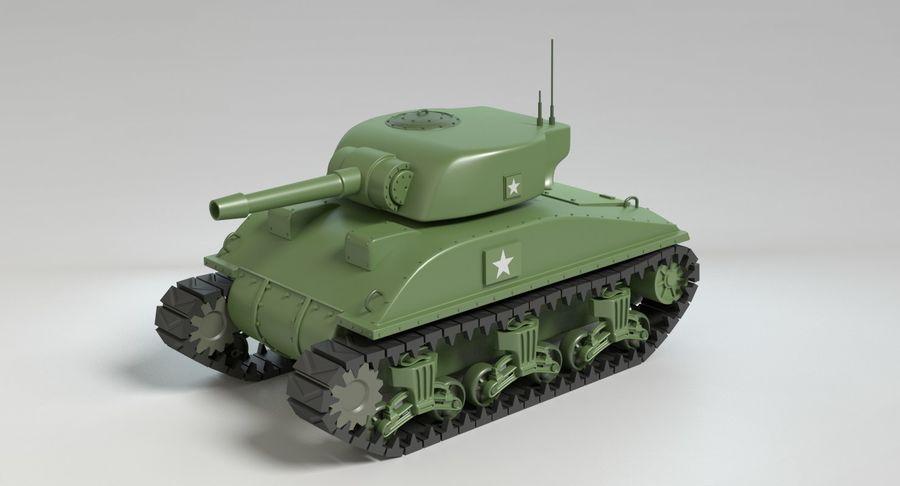 Cartoon Sherman Tank royalty-free 3d model - Preview no. 8