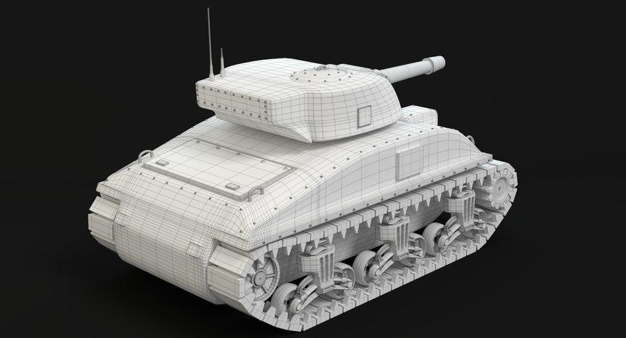Cartoon Sherman Tank royalty-free 3d model - Preview no. 16
