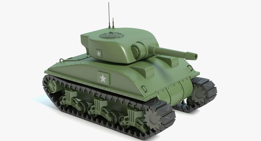Cartoon Sherman Tank royalty-free 3d model - Preview no. 2