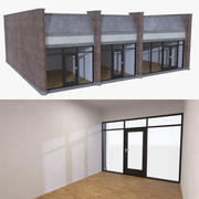 Strip mall store unit two with interior full 3d model