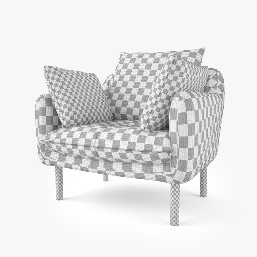 Jardan Andy Sofa and Armchair royalty-free 3d model - Preview no. 14