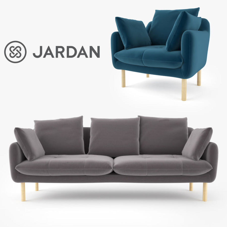 Jardan Andy Sofa and Armchair royalty-free 3d model - Preview no. 1